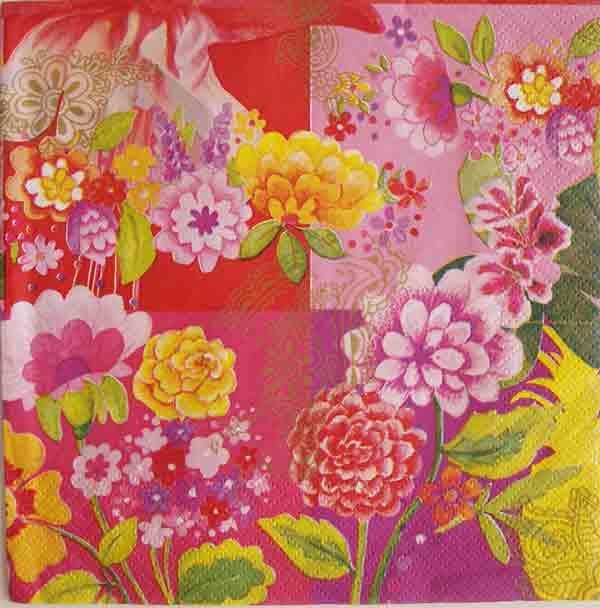 Serviette en papier  - fleurs roses