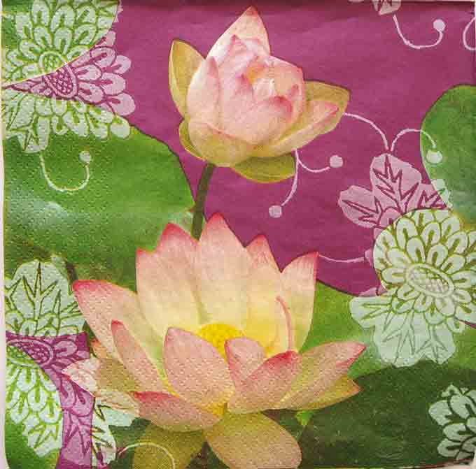 Serviette en papier - Fleurs de lotus