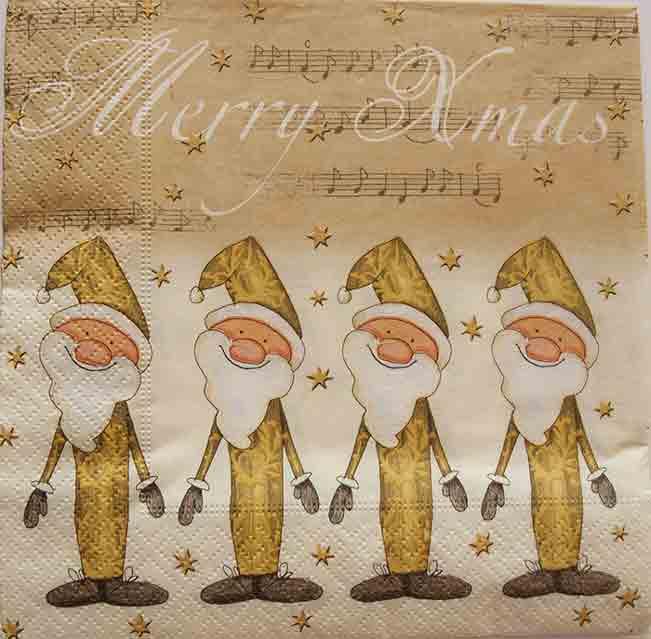Serviette en papier Noël - Golden Santas