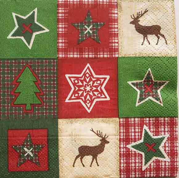 Serviette en papier Noël - Patchwork de Noël