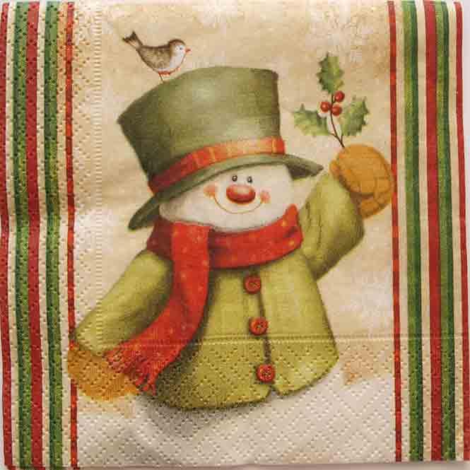 Serviette en papier Noël - Bonhomme de neige