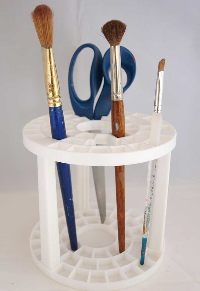 Porte-pinceaux et accessoires rond en plastique