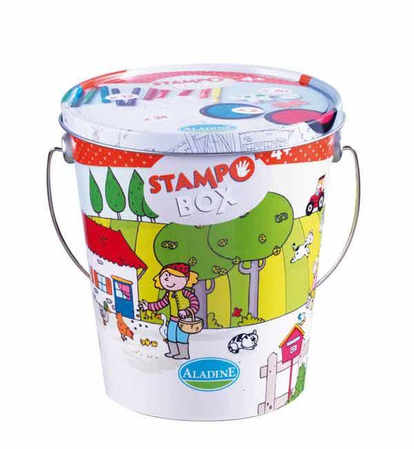 Stampo Box (Aladine) - Kit tampons, encreurs, feutres -  pour enfants - la ferme