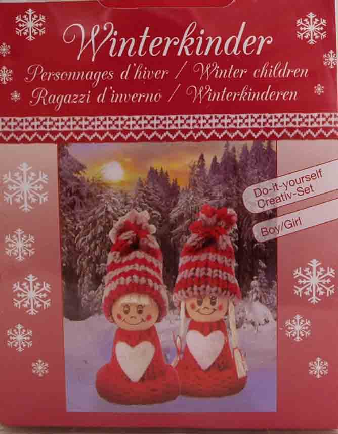 Kit créatif - set 2 figurines personnages d\'hiver rouges à habiller - Glorex