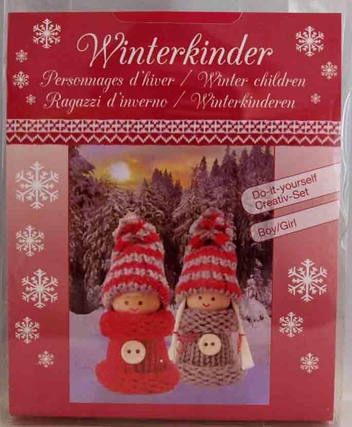 Kit créatif - set 2 figurines personnages d\'hiver gris/rouges à habiller  - Glorex