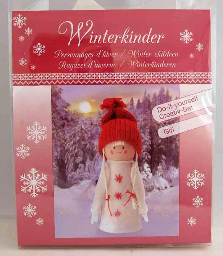Kit créatif - 1 figurine personnages d\'hiver - fille à habiller  - Glorex