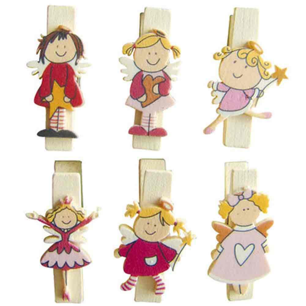Mini pinces à linge  aimantées en bois - motifs: les fées