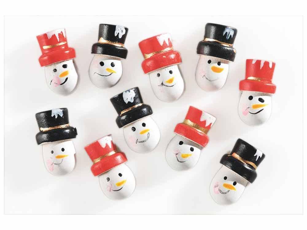 10 formes en bois 3D décorées - adhésives - Bonhommes de neige