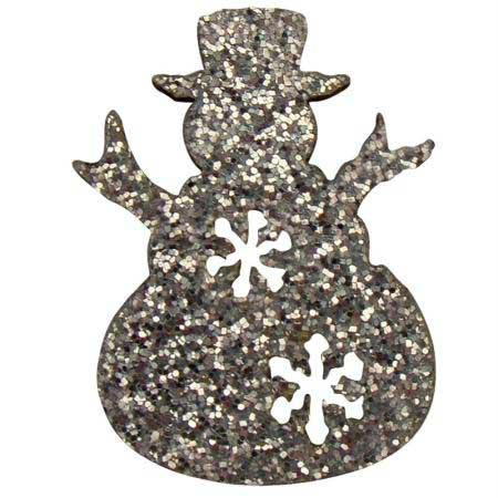 12 formes décorées - adhésives - Bonhommes de neige pailletés