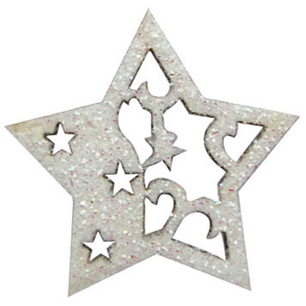 Petites étoiles  blanches paillettées - 3cm - 12pcs