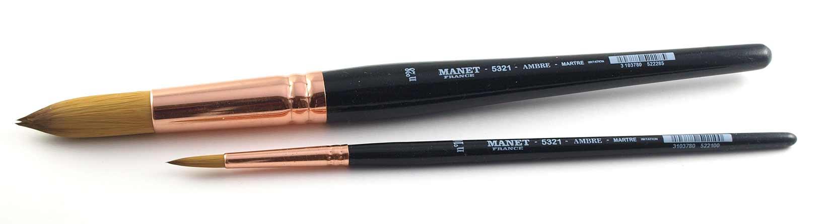 Pinceau Rond manche court - imitation martre - Manet Ambre 5321