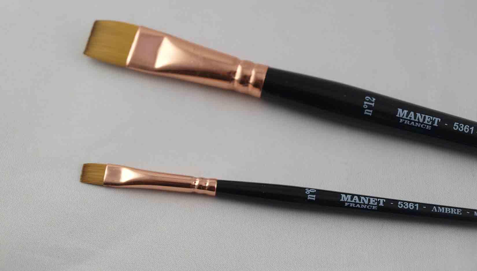 Pinceau plat extra-court -  manche court - imitation martre - Manet Ambre 5361