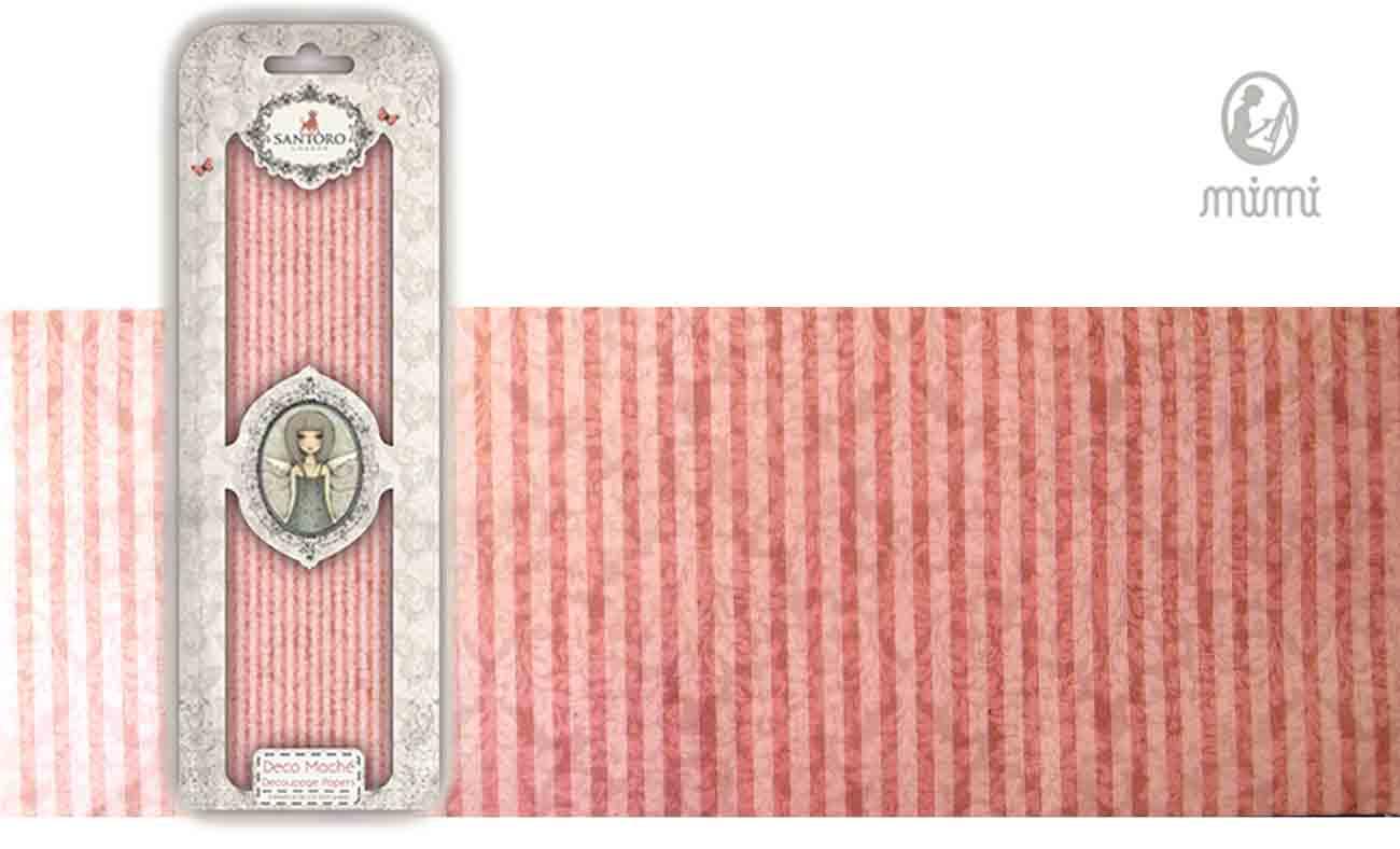 Papier découpage - Déco Maché - Santoro - Lignes roses
