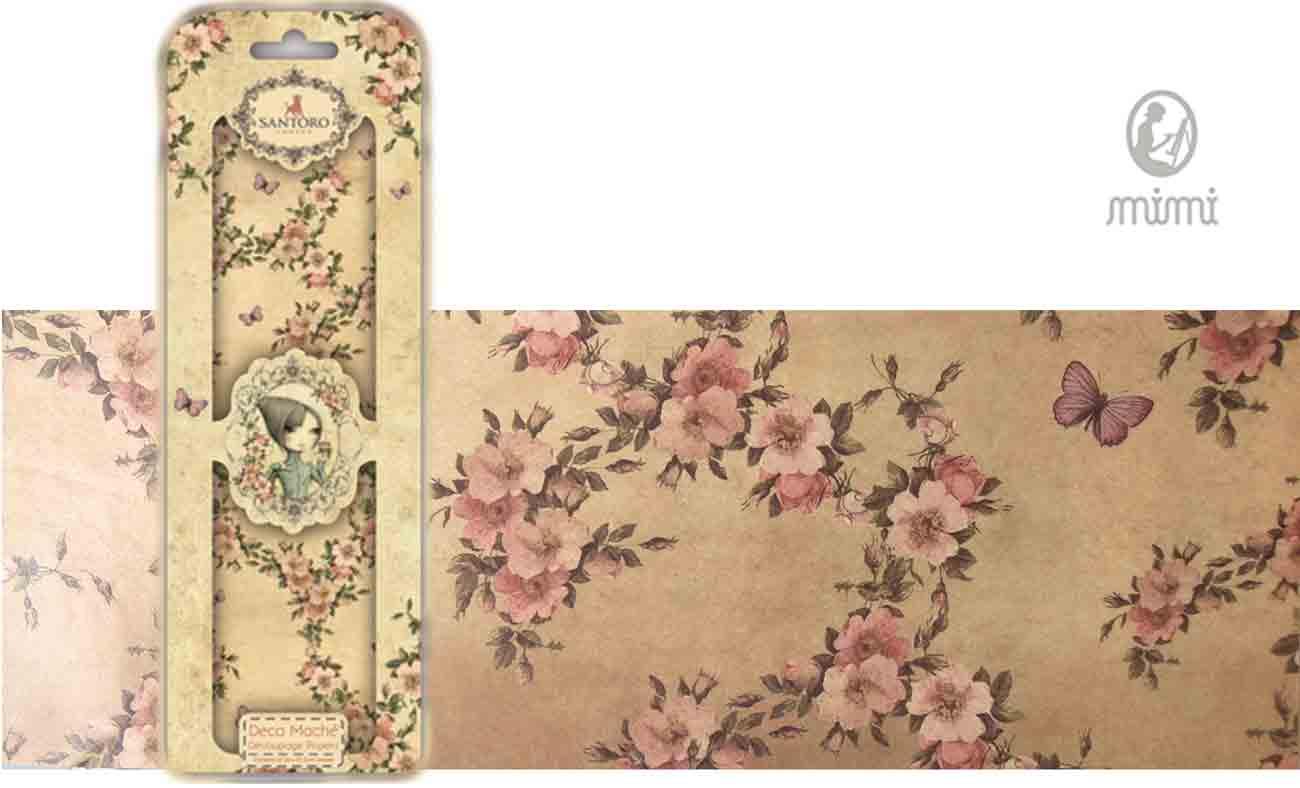 Papier découpage - Déco Maché - Santoro - Floral