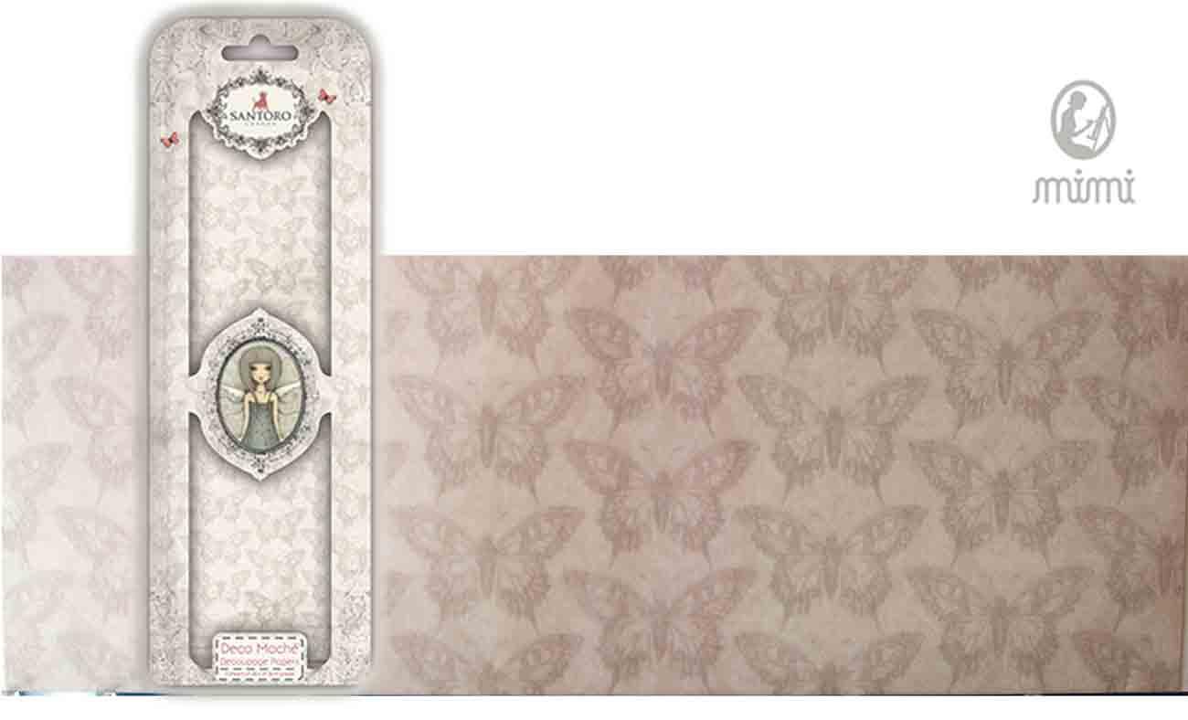 Papier découpage - Déco Maché - Santoro - Papillons gris