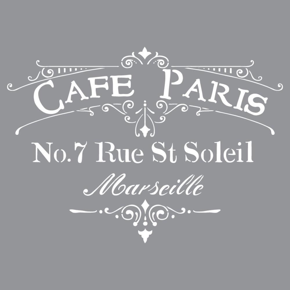 Pochoir motif Café Paris - Americana Decor Stencil - 30,5X30,5cm