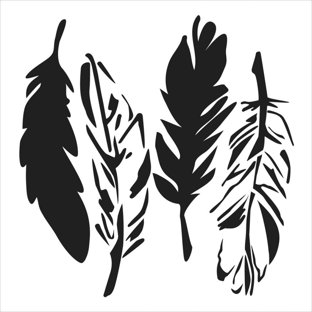 Pochoir motif plumes - 15X15cm
