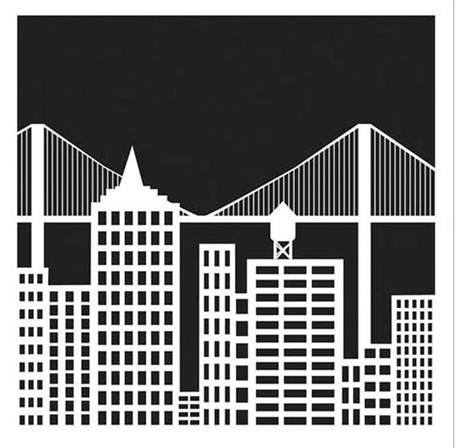 Pochoir motif paysage urbain - 15X15 cm
