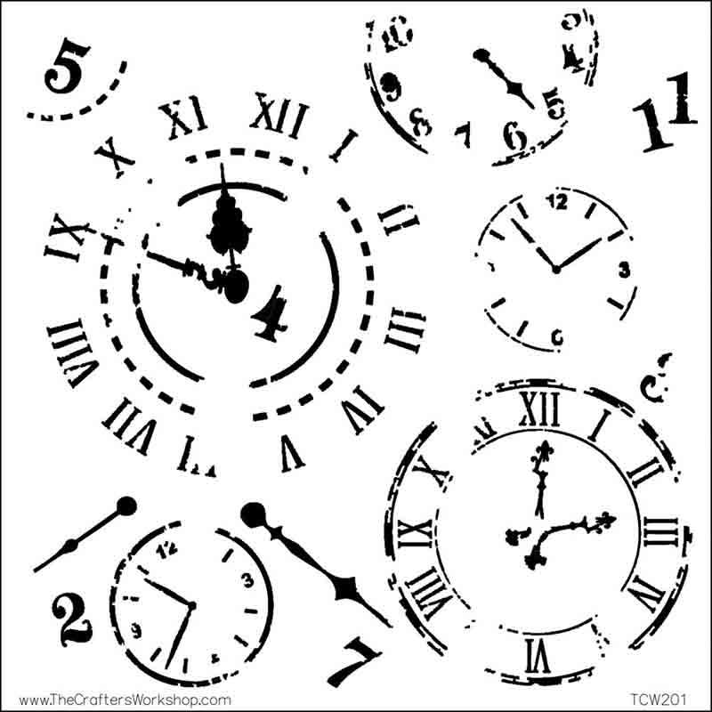 Pochoir motif horloges- 15X15cm (6X6)