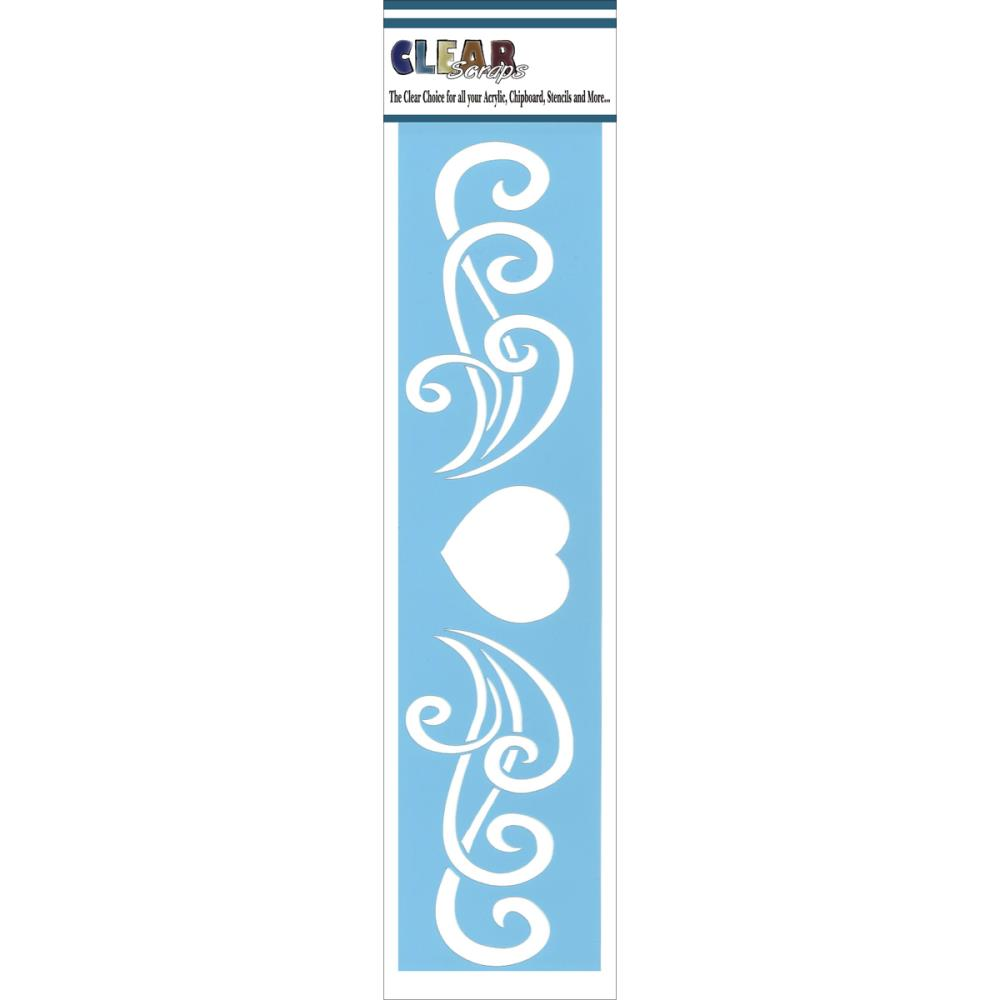 Pochoir bordure motif heart flourish border - 7,35X30,1cm