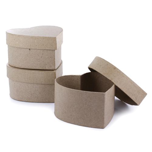 Lot 3 boîtes  en carton forme coeur - 90x90X53mm