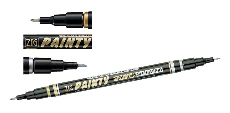 Feutre Painty double pointe à encre à base d\'huile - or et argent