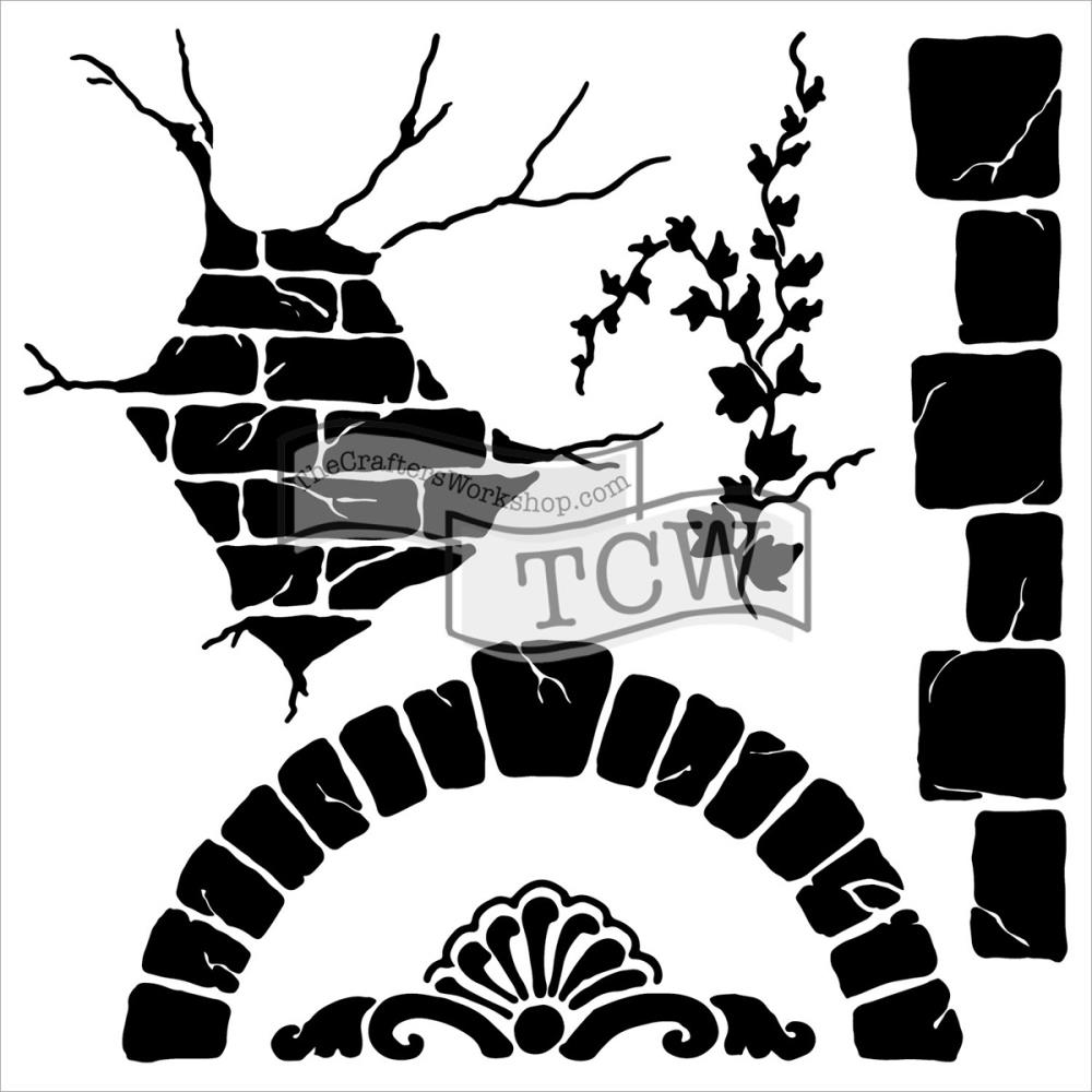 Pochoir motif mini tuscan wall- 15X15cm