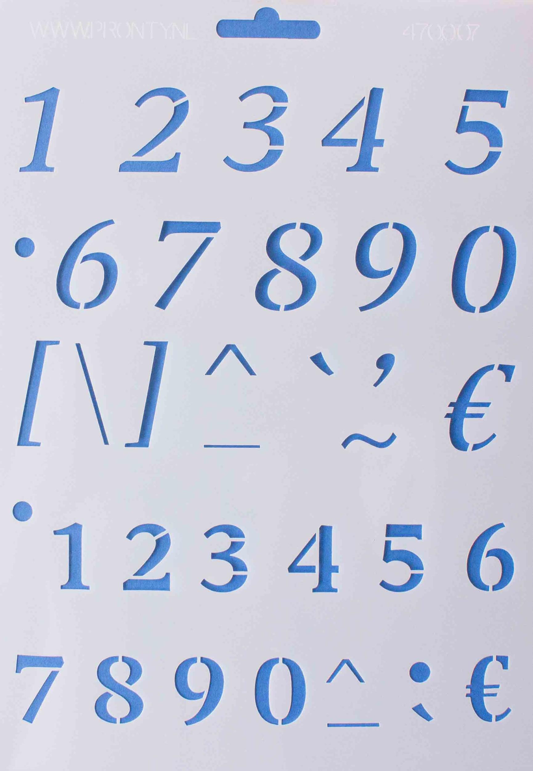 Pochoir de chiffres - 16,8x24 cm