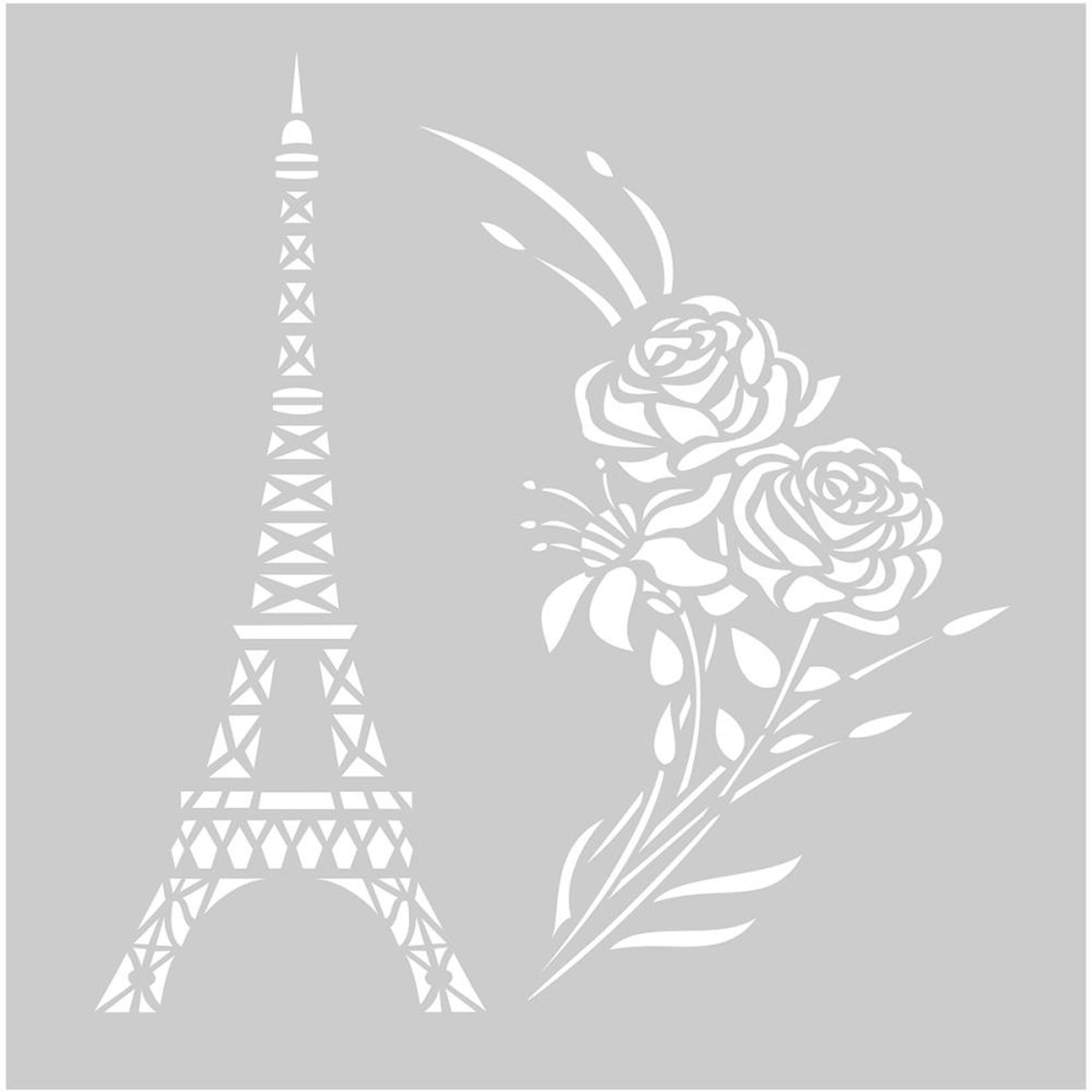 Pochoir plastique Tour Eiffel et bouquet de roses - 20x20cm