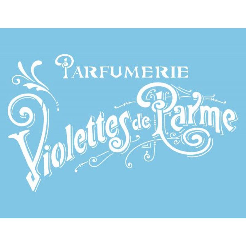 Pochoir motif parfumerie violettes de Parme - 21,5x28cm