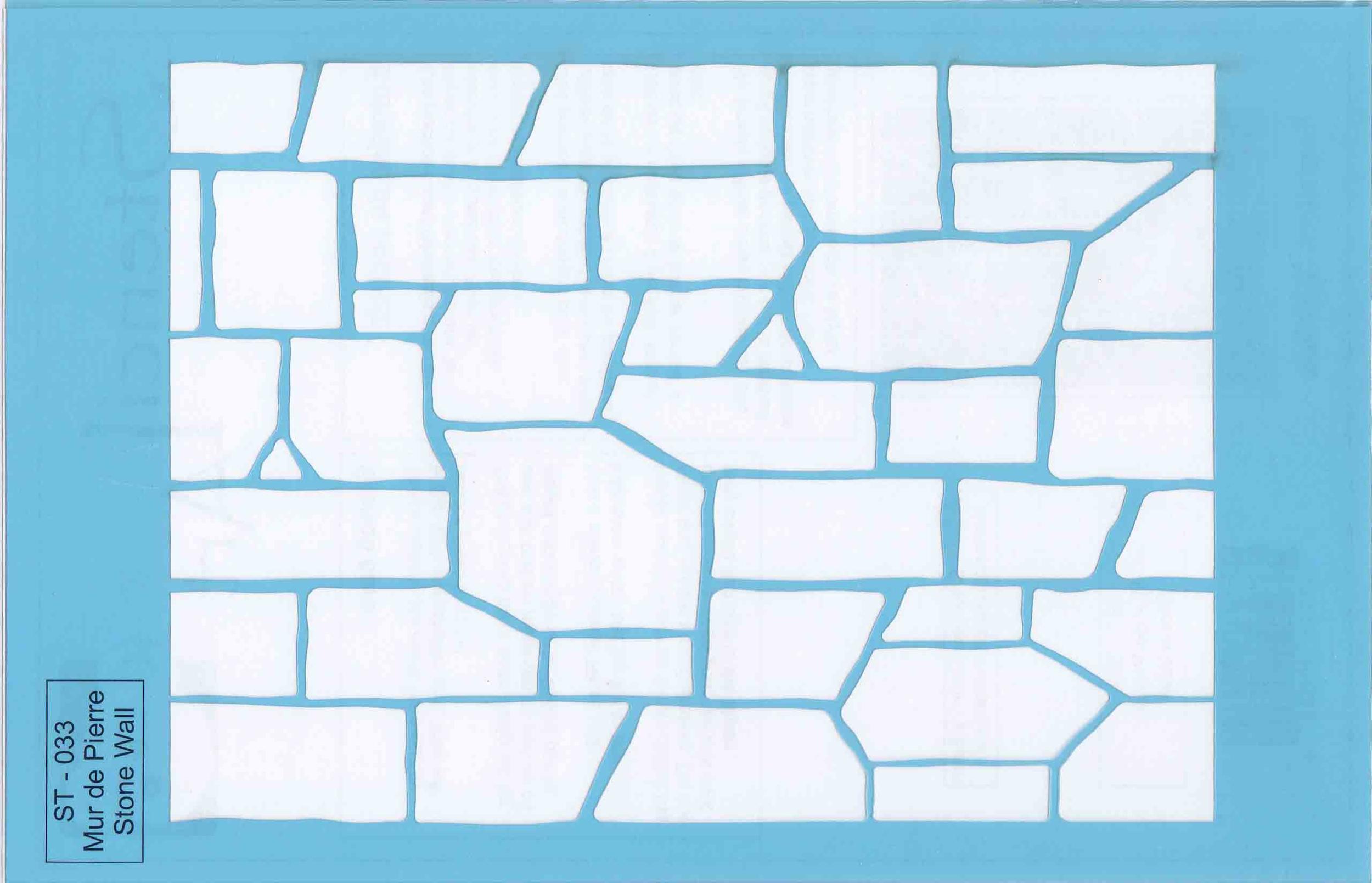Pochoir motif mur de pierre - 21,5x14cm