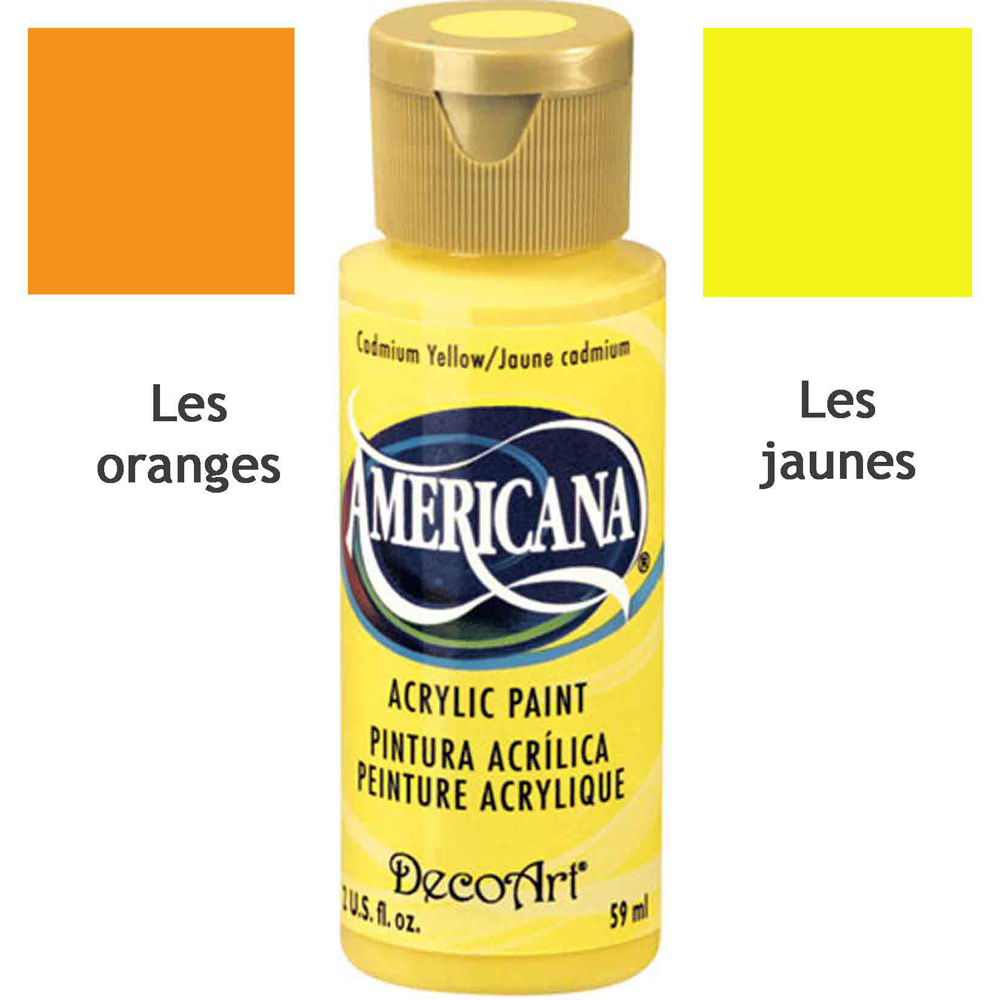Acrylique Americana (DecoArt) - 59ml - Nuances oranges & jaunes