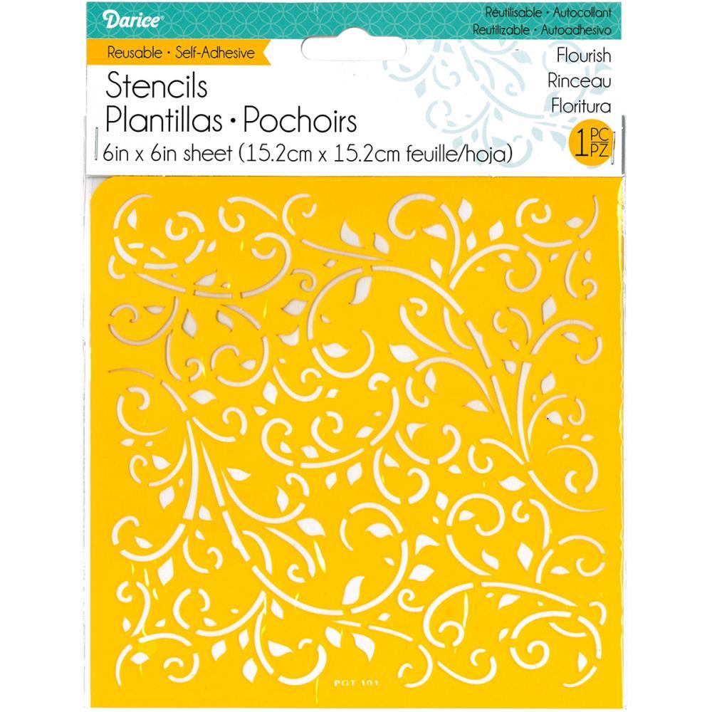 Pochoir auto adhésif - motif floral ornemental - 15,2X15,2cm