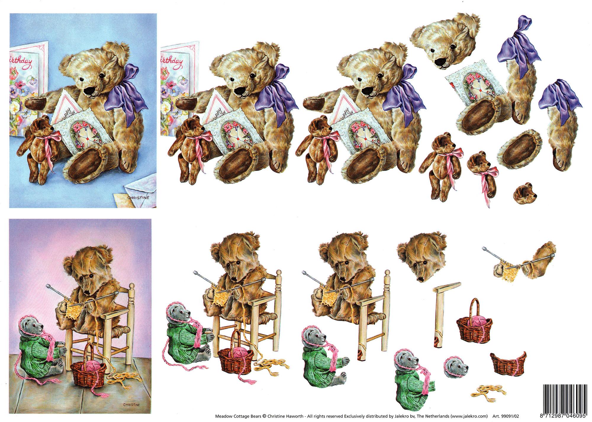 planche d\'images pour cartes 3D - A4 - oursons