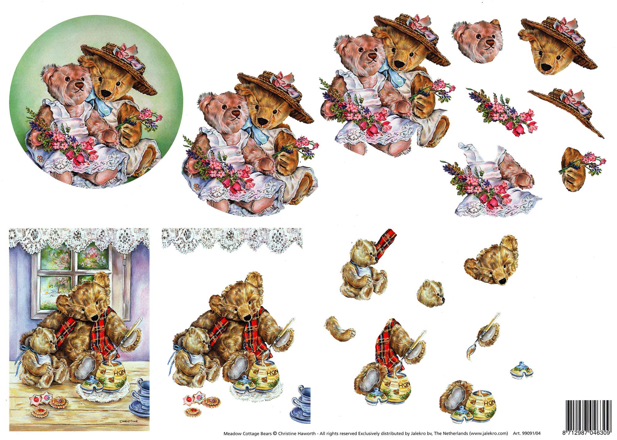 planche d\'images pour cartes 3D - A4 - oursons3