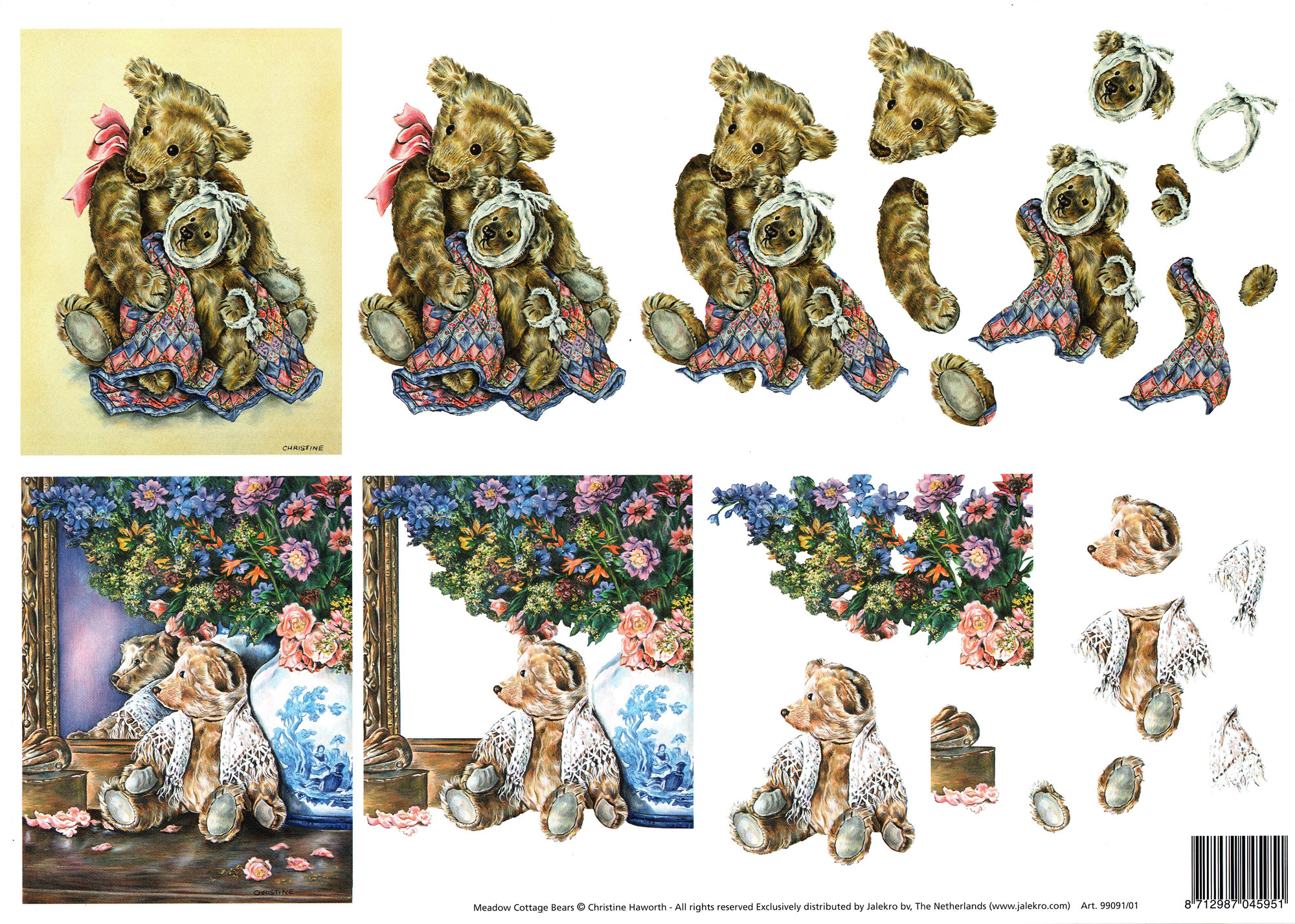 planche d\'images pour cartes 3D - A4 - oursons4