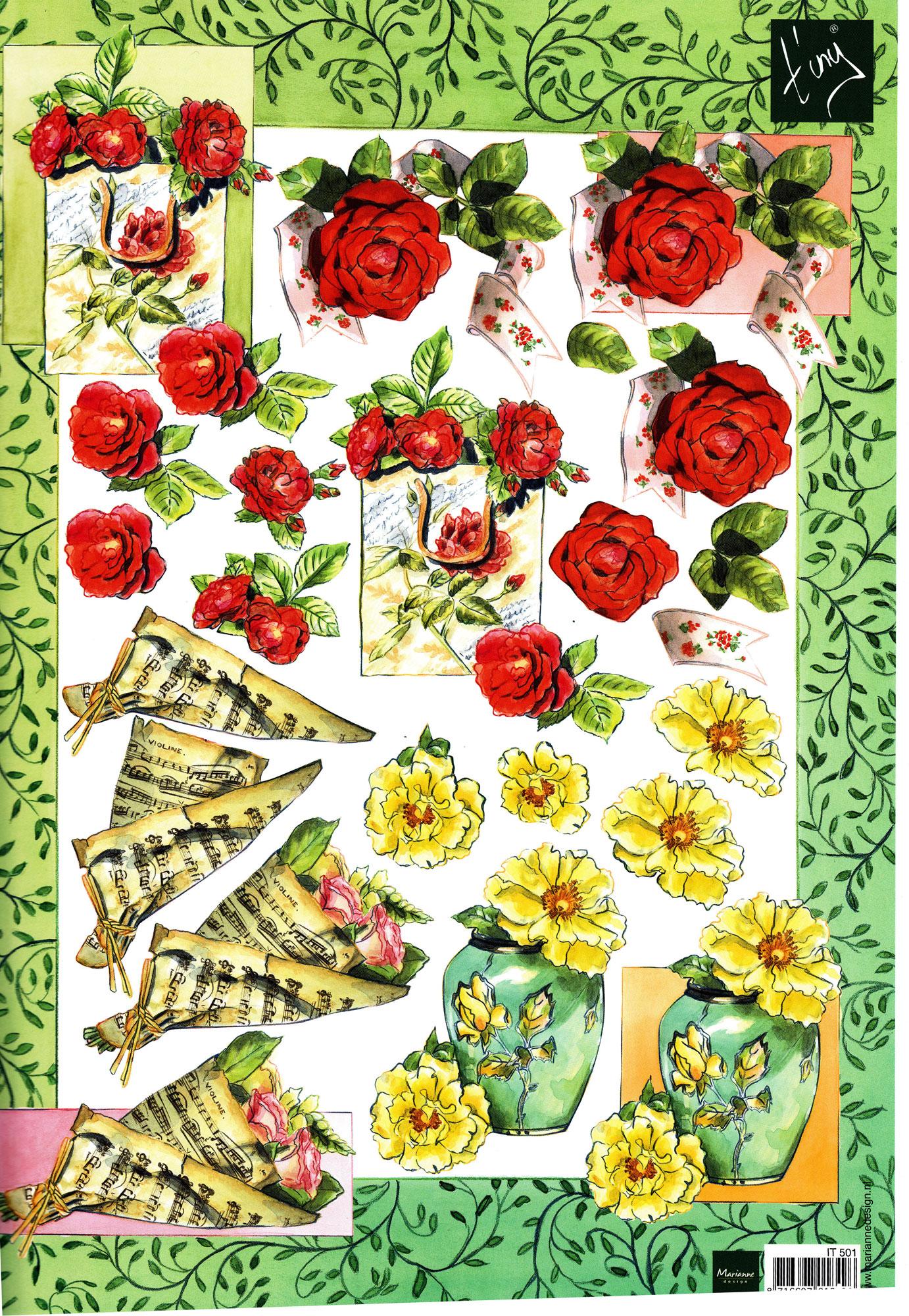 planche d\'images pour cartes 3D - A4 - roses
