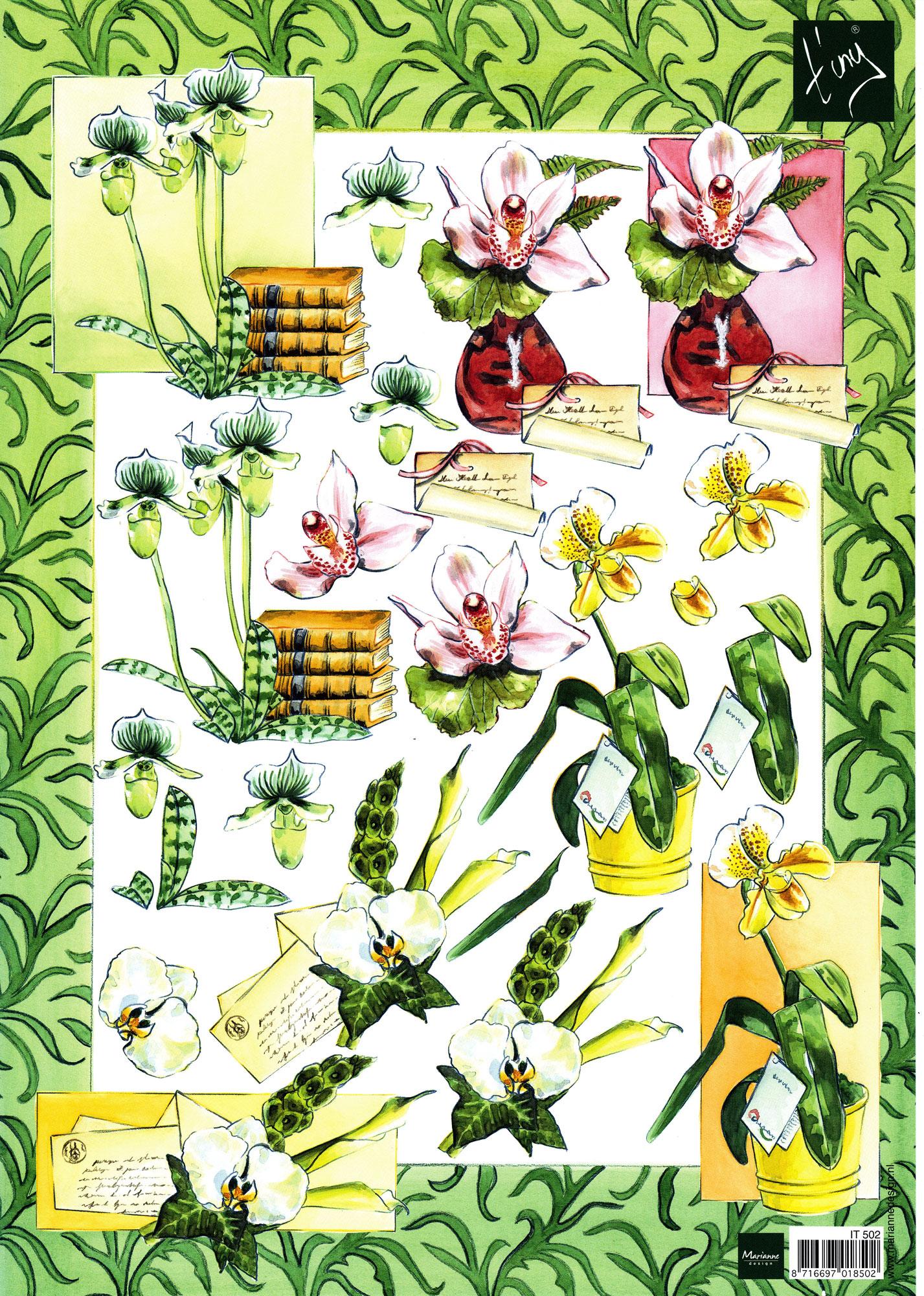 planche d\'images pour cartes 3D - A4 - orchidées