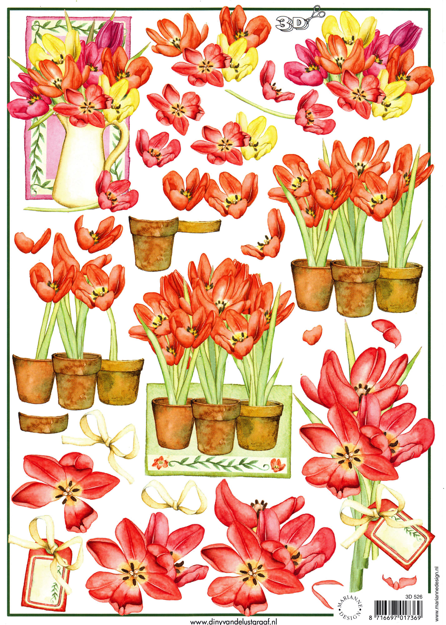 planche d\'images pour cartes 3D - A4 - Tulipes