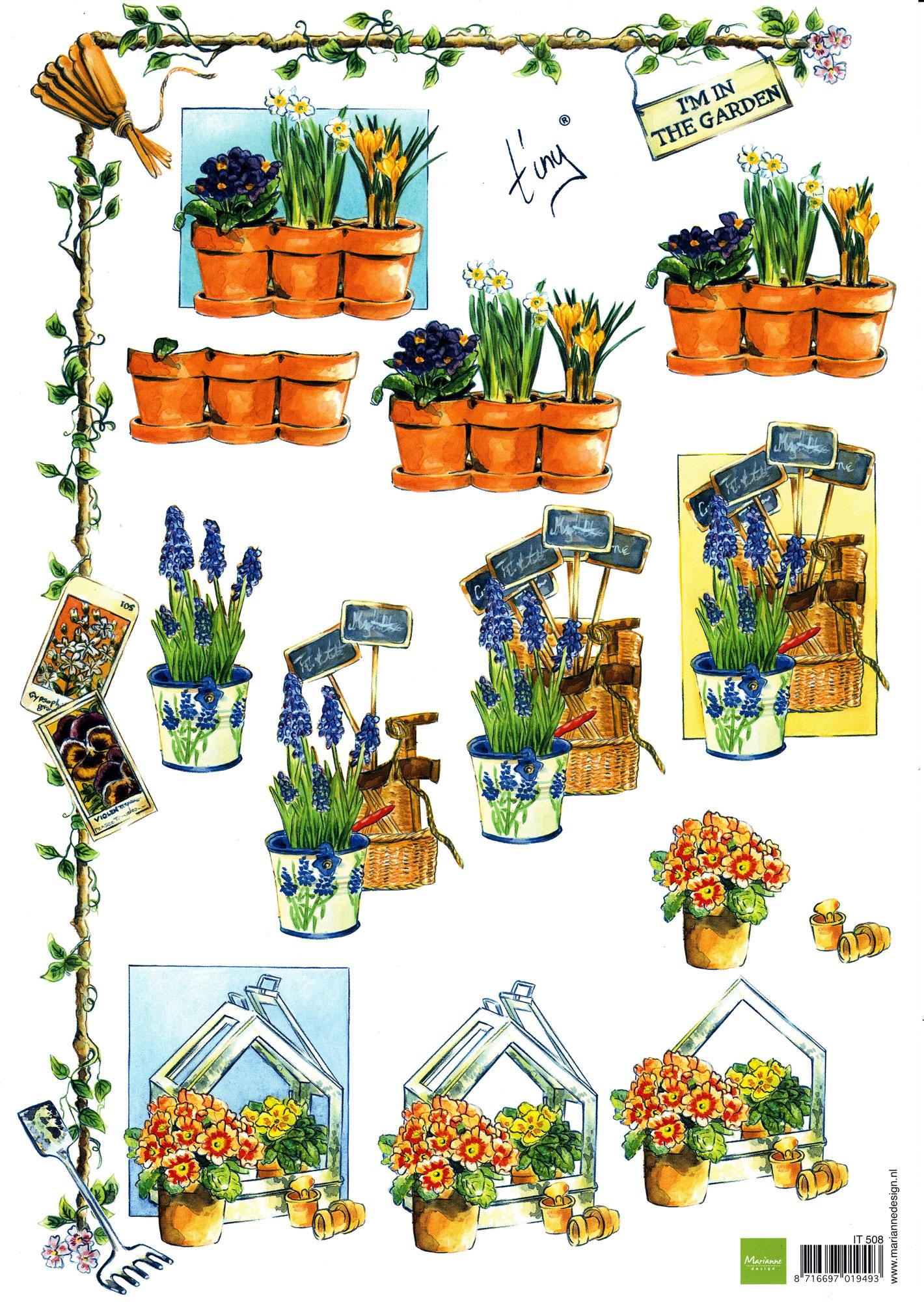planche d\'images pour cartes 3D - A4 - The garden 1