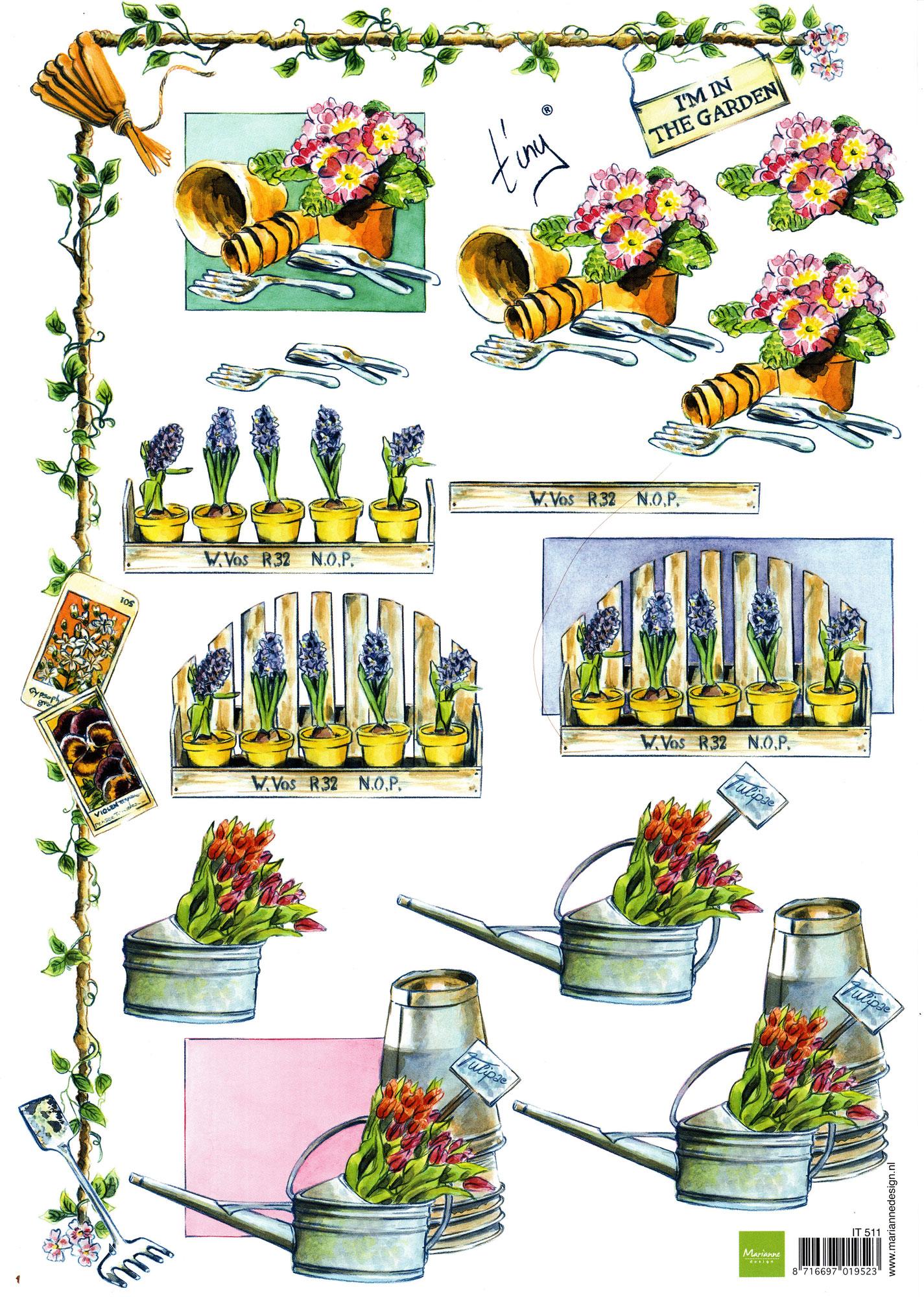 planche d\'images pour cartes 3D - A4 - The garden 2