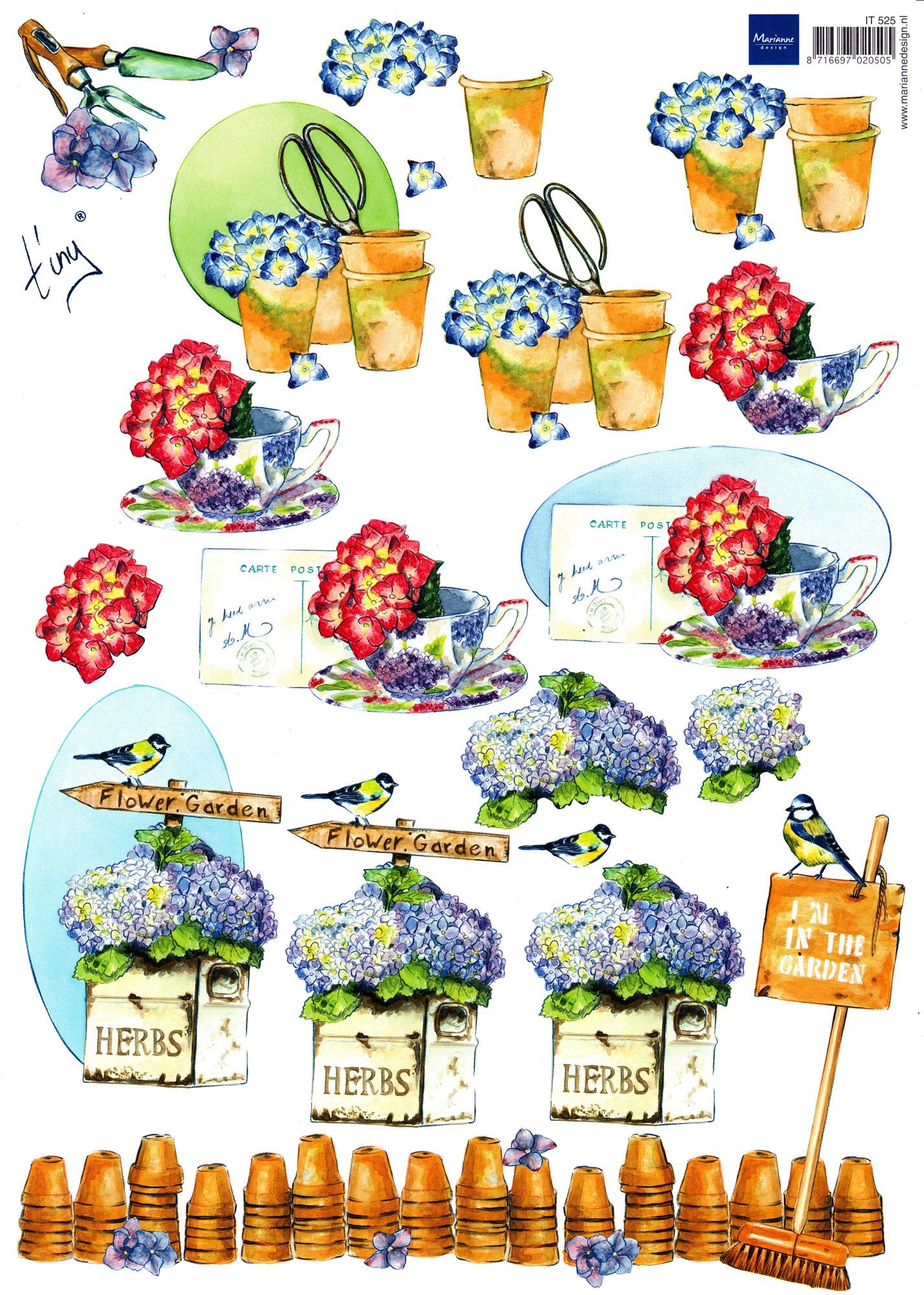 planche d\'images pour cartes 3D - A4 - The garden 6