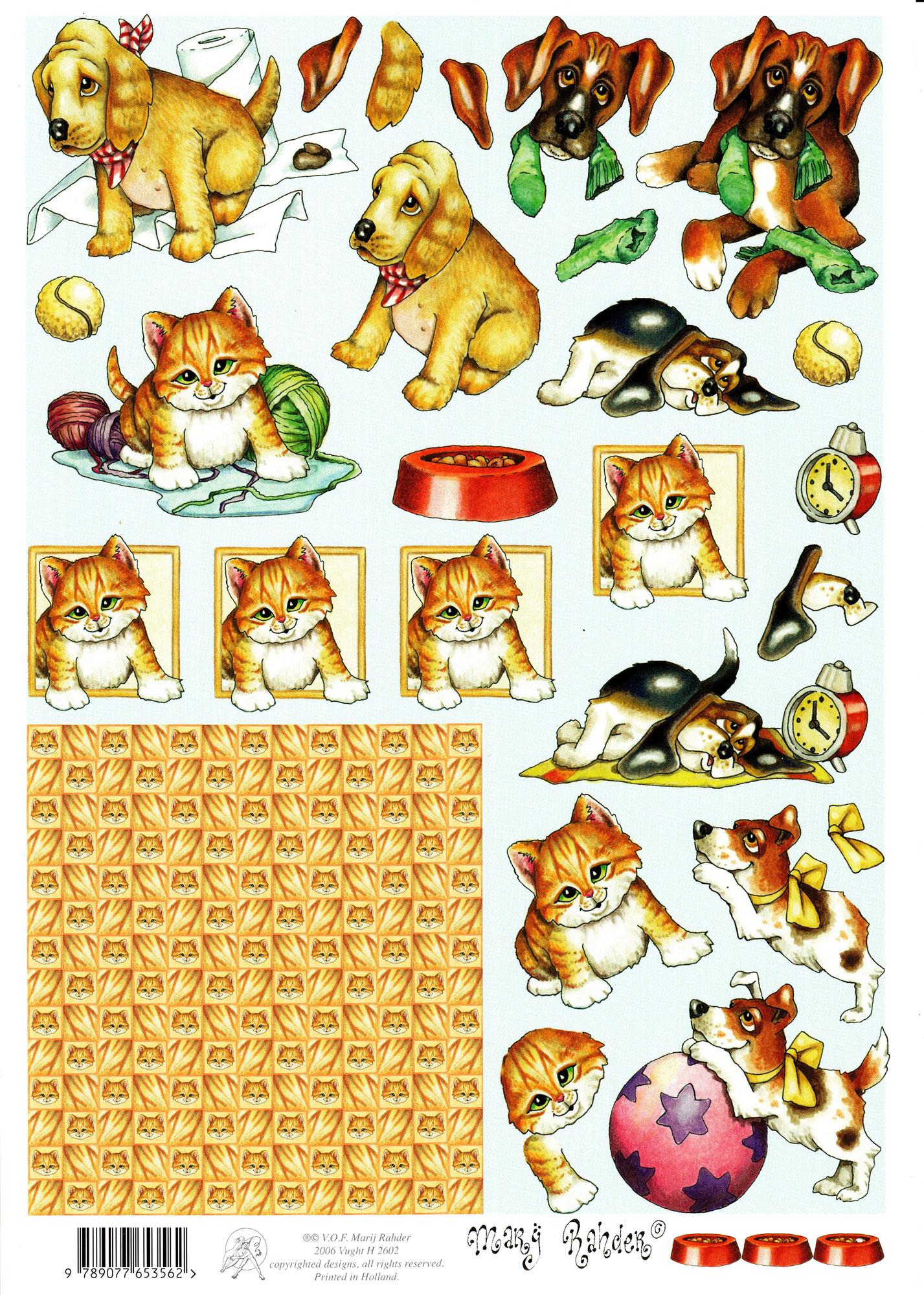 planche d\'images pour cartes 3D - A4 - chaton et chiot