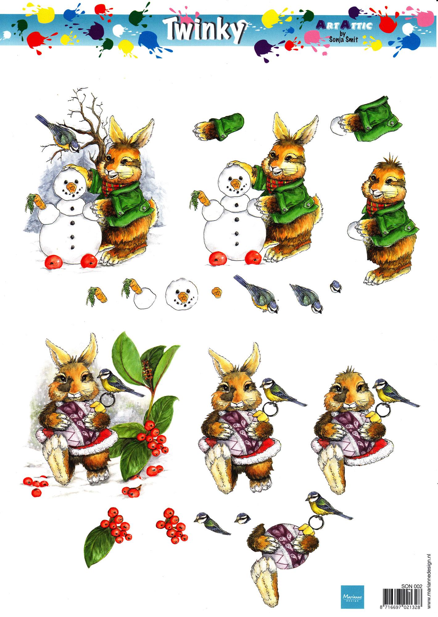 planche d\'images pour cartes 3D - A4 - Lapin en hiver
