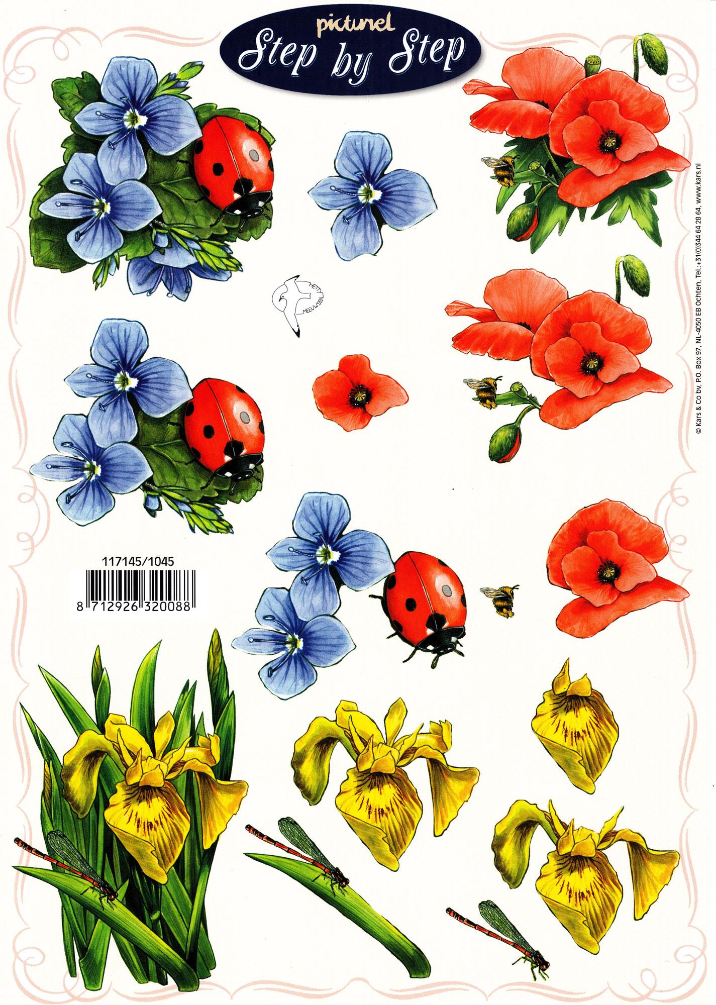 planche d\'images pour cartes 3D - A4 - Fleurs et coccinelles