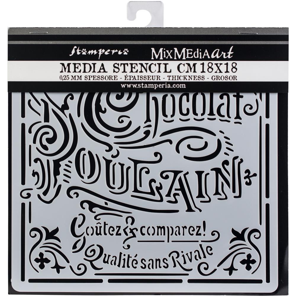 Pochoir motif chocolat Poulain - 18x18cm -Stamperia