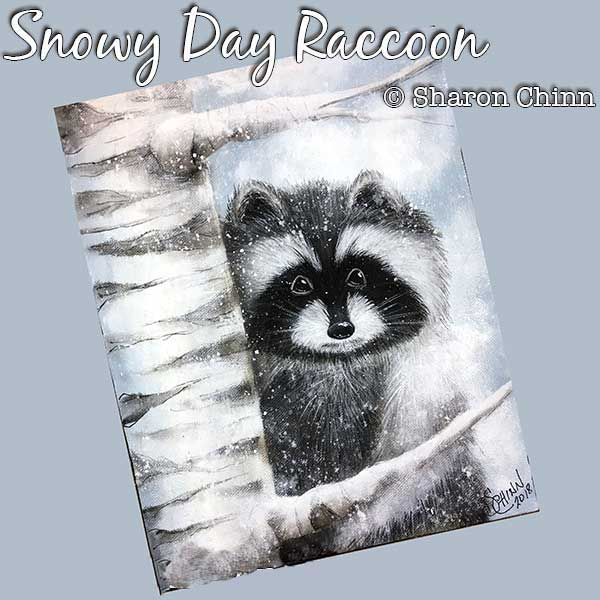 Snowy day racoon par Sharon Chinn