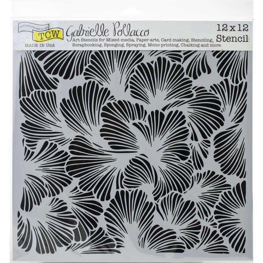 TCW12X12 pochoir lush petals