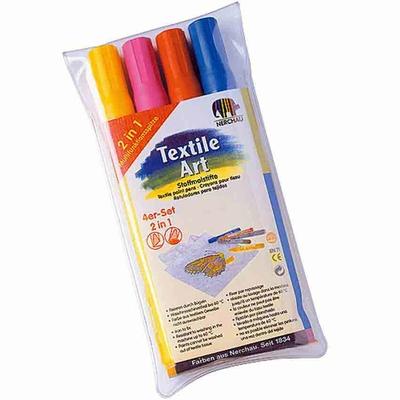 """Feutres pour textile , set de 4 couleurs """"tendance"""""""