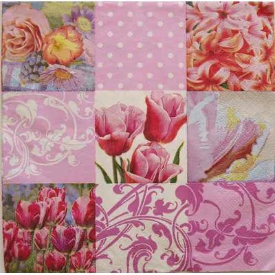 """Serviette en papier  - """"patchwork de fleurs"""""""